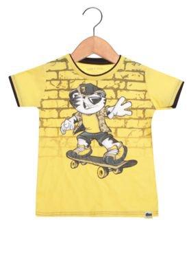 Camiseta Manga Curta Tigor T. Tigre Infantil  Estampada Amarela