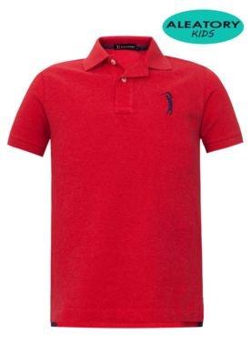 Camisa Polo Aleatory Kids Bordado Vermelha