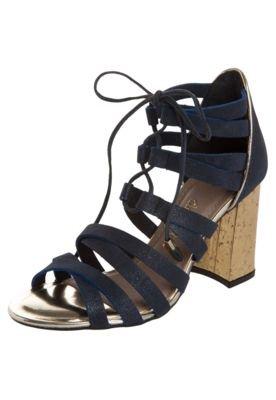 Sandália Dakota Salto Grosso Amarração Azul