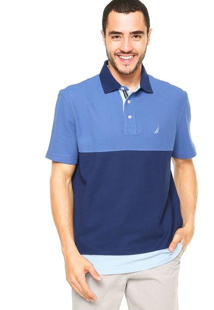 Camisa Polo Nautica Listras Color - Azul