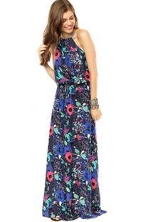 Vestido Longo Basi.k Print Azul