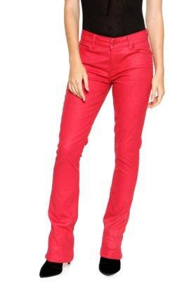 Calça Ellus Bootcut Leather Denim Ly Vermelha