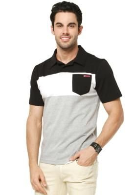 Camisa Polo Hang Loose Block Cinza