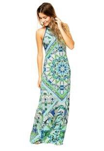 Vestido Longo Colcci Estampado Azul