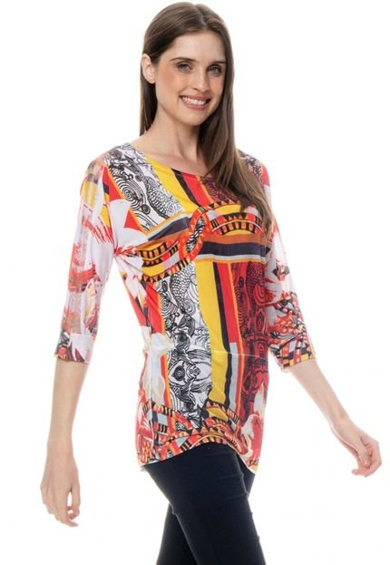 101 Resort Wear Blusa 101 Resort Wear Morcego Jersey Estampada Geometrico ADzVF