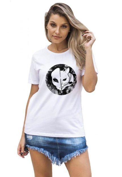 Joss Camiseta Basica Joss Cat Alien Branco CwYJN