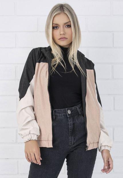 Jaqueta corta-vento com recortes rosé, da PKD Concept