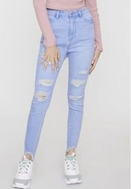 Jeans Skinny Destroyed Bota I Azul Claro  Corona