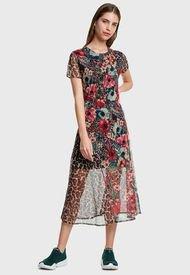 Vestido Desigual Corto Multicolor - Calce Regular