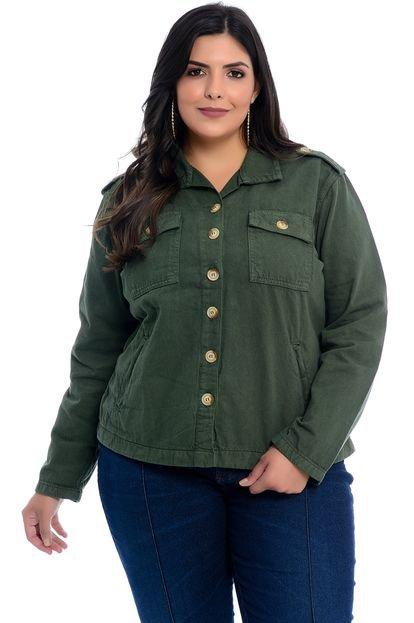 Cambos Jaqueta Plus Size Cambos Sarja Verde Militar grFyE