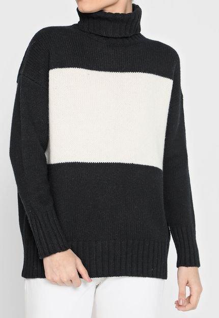 Polo Ralph Lauren Suéter Lã Polo Ralph Lauren Tricot Gola Rolê Preto/Off-White zmEZo