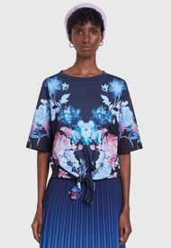 Polera Desigual T Shirt Fall Flower Azul - Calce Holgado