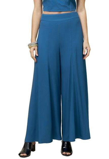 MX Fashion Calça MX Fashion Wide Leg Pantacourt de Viscose Verah Azul S9Meb
