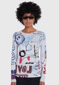 Sweater Desigual Pullover Arty 1  Gris - Calce Regular