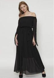 Vestido Largo De Cinturon Design Negro 609 SeisceroNueve