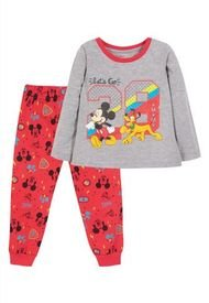 Pijama LL Niño Mickey Y Pluto Rojo Disney Disney
