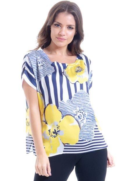 101 Resort Wear Blusa 101 Resort Wear Gola Punho Flor Quebec Azul b1hFa