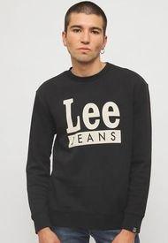 Polerón Lee Sweat Lem Logo Jns Negro - Calce Regular