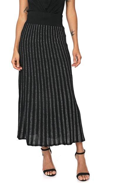 Calvin Klein Jeans Saia Calvin Klein Jeans Longa Tricot Metalizada Preta/Prata sX5n0
