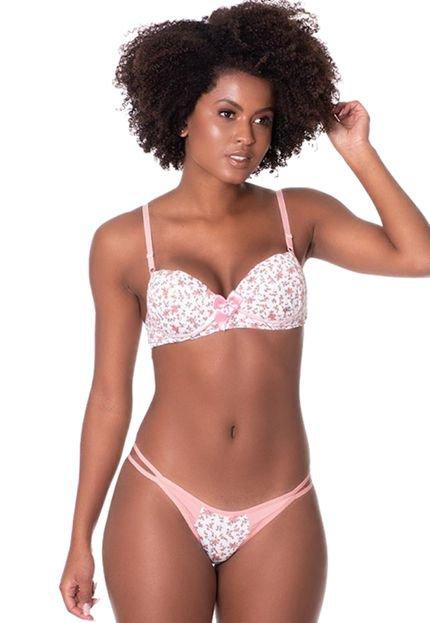 Click Chique Conjunto Click Chique Básico Tirinha Estampado Rosa Rud7t