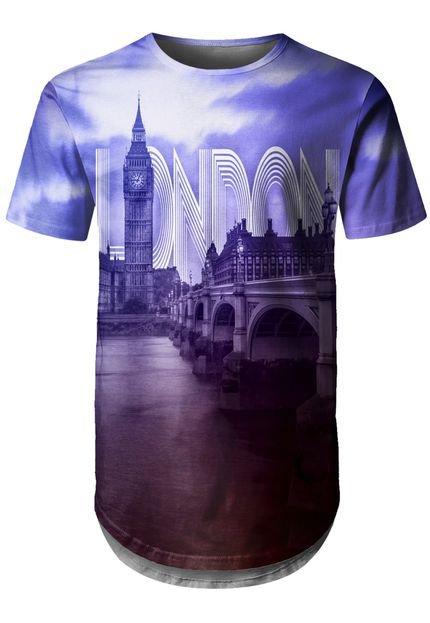Camiseta Longline Over Fame Londres Roxa