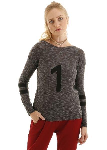 AHA Blusa manga longa tricot com detalhe de listras e numero preto IR1mg