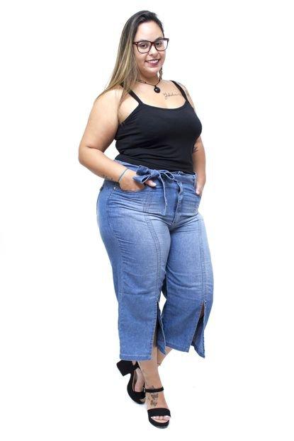 Uvx Calça Jeans Uvx Plus Size Pantacourt Catheryne Azul ZhnT3