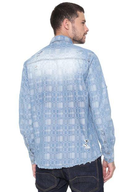 Zune Camisa Jeans Zune Reta Xadrez Azul