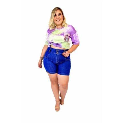 Hagarra Jeans Short Jeans Feminino Plus Size Com Lycra Cintura Alta Azul khkVi