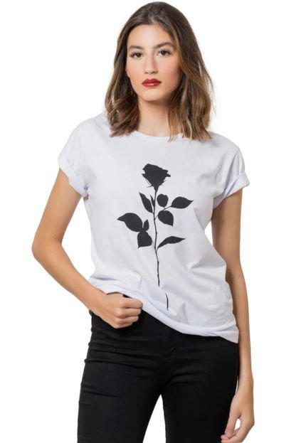 Camiseta Basica Joss Black Flower Branca