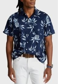 Camisa Classic Fit Pineapple Azul Polo Ralph Lauren