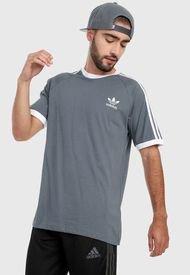 Camiseta Gris-Blanco adidas Originals Adicolor Classics 3 Rayas
