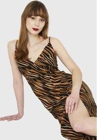 Vestido Print Cebra Naranjo Nicopoly