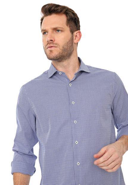 Camisa Azzaro Slim Geométrica Azul-marinho/Branca