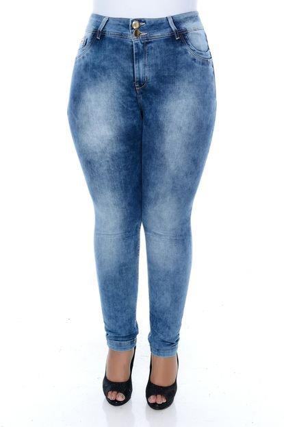 Xtra Charmy Calça Xtra Charmy Jeans Plus Size Delavê Snow Azul YUOOV