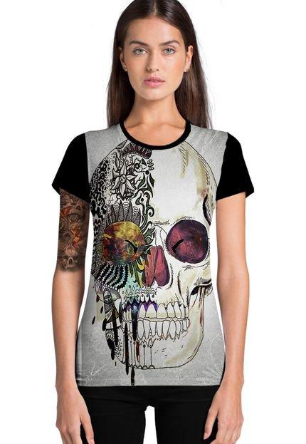 Ramavi Camiseta Feminina Ramavi Skull Manga Curta NlZXN