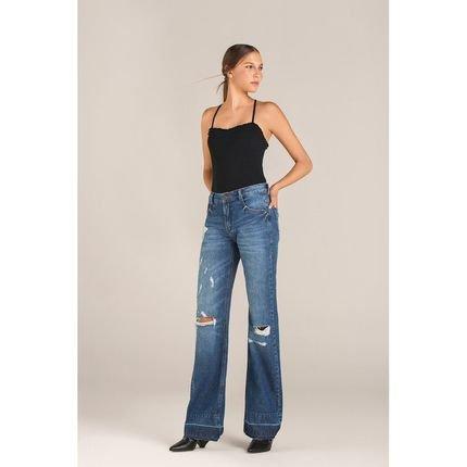 Leboh Calca Leboh Wide Cos Intermediario Com Puidos Jeans Jeans GnvNq