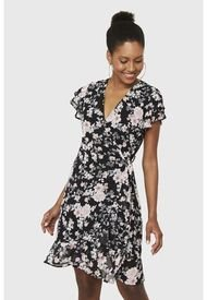 Vestido Corto Envolvente Floral Negro Nicopoly