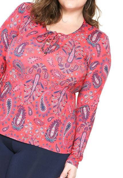 Blusa Wee  Lace Up Plus Size Rosa