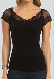 Camiseta Seamless Encaje Delicado Negro Baziani