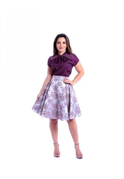 Miss Lady Saia Luxo Miss Lady Godê Jacquard Rosas Lilás uoQ2W