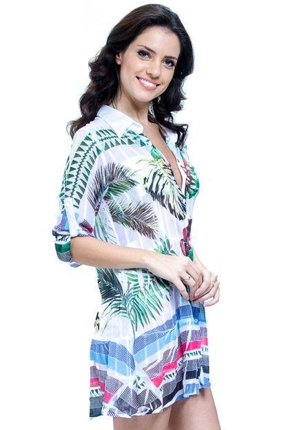 101 Resort Wear Vestido Chemise 101 Resort Wear Meia Manga Evasê Folhas Coloridas m337j