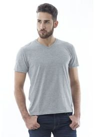 Camiseta Color Gris Para Hombre Manga Corta Cuello V Basica  Keith R