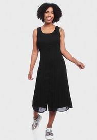 Vestido Wados Plisado Sin Mangas Negro - Calce Regular
