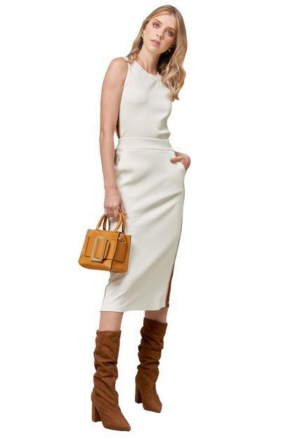 MX Fashion Conjunto MX Fashion Canelado de Viscose Núbia Off White e02la