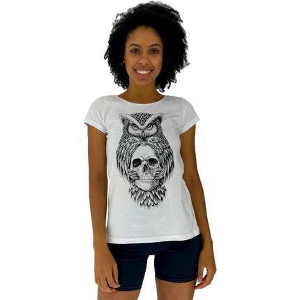 Alto Conceito Camisa Babylook Alto Conceito Owl And Skull Branco UkBoS