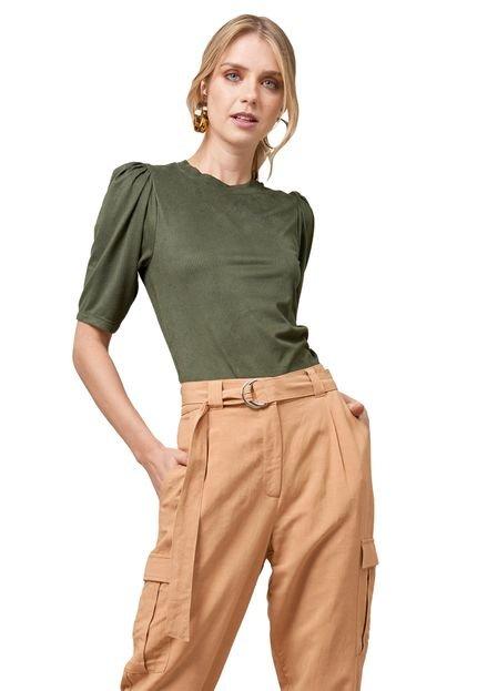 MX Fashion Blusa MX Fashion de Suede Canelada Esmeralda Verde apoTW