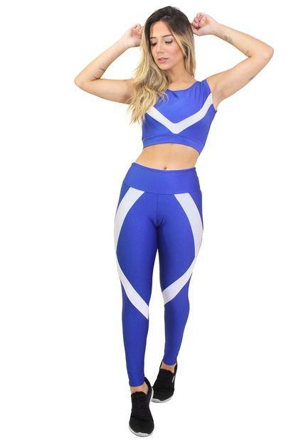 Racy Modas Conjunto Fitness Racy Modas Cropped   Calça Legging Azul e Branco rWS4B