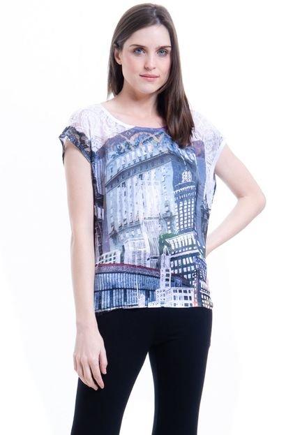 101 Resort Wear Blusa 101 Resort Wear Tunica Crepe Mangas Curtas Estampada Paisagem SP V7Kck