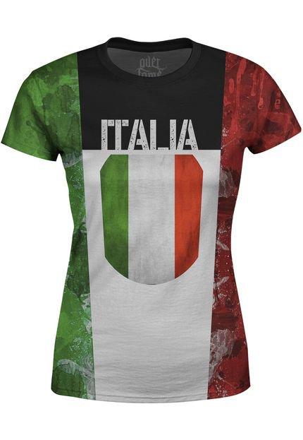 Over Fame Camiseta Estampada Baby Look Over Fame Itália Multicolorida 6LM9g